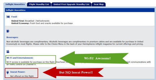 No Seat Power Available! on Some United Flights with Wi-Fi